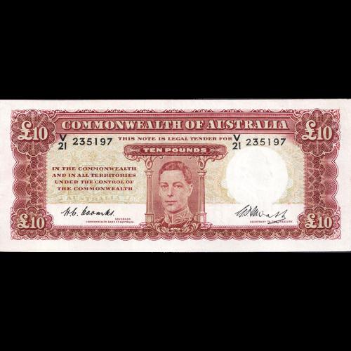 Ten Pound Coombs Watt Australian Banknote