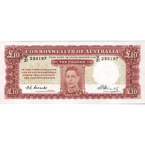 Ten Pound Coombs Watt Australian Banknote